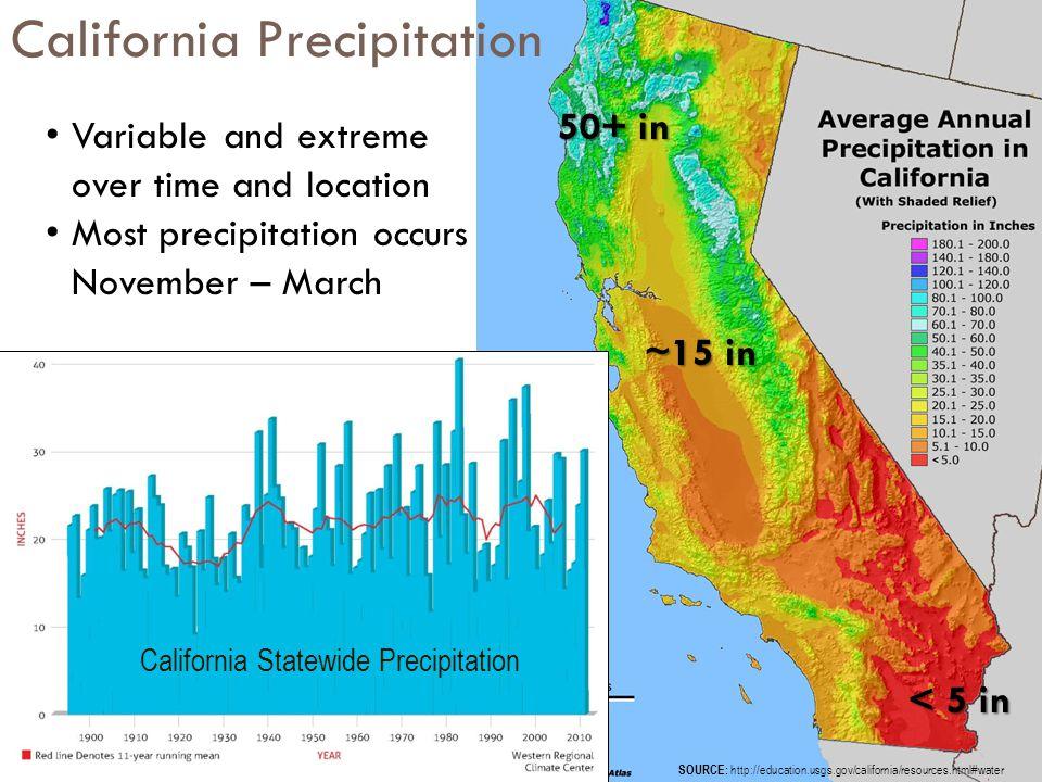 5 n Average Annual Runoff ~71 MAF/Year 56 MAF (million acre-feet) (~80%) 15 MAF (~20%) 29 MAF (~66%) 15 MAF (~33%) N Distribution of Average Runoff (major river systems) Distribution of Water Use California Hydrology and Water Use