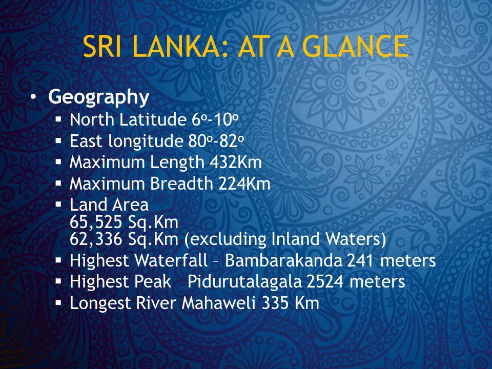 SRI LANKA: AT A GLANCE Geography  North Latitude 6 o -10 o  East longitude 80 o -82 o  Maximum Length 432Km  Maximum Breadth 224Km  Land Area 65,525 Sq.Km 62,336 Sq.Km (excluding Inland Waters)  Highest Waterfall – Bambarakanda 241 meters  Highest Peak Pidurutalagala 2524 meters  Longest River Mahaweli 335 Km