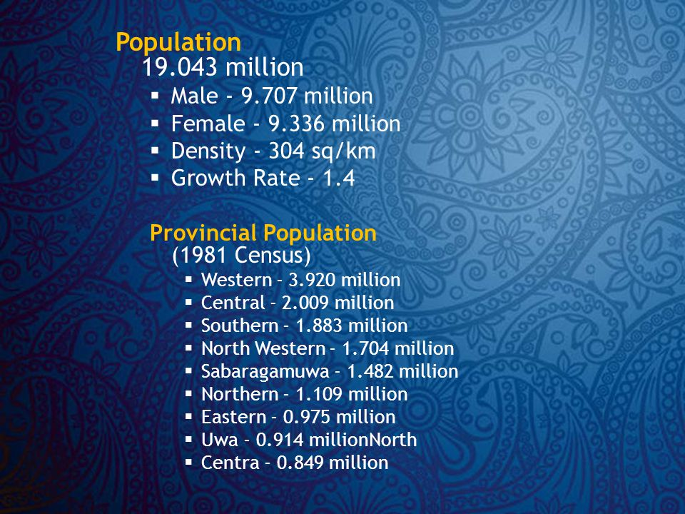 Population 19.043 million  Male - 9.707 million  Female - 9.336 million  Density - 304 sq/km  Growth Rate - 1.4 Provincial Population (1981 Census)  Western - 3.920 million  Central - 2.009 million  Southern - 1.883 million  North Western - 1.704 million  Sabaragamuwa - 1.482 million  Northern - 1.109 million  Eastern - 0.975 million  Uwa - 0.914 millionNorth  Centra - 0.849 million
