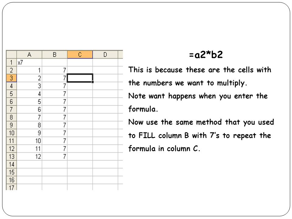 =a2*b2 This is because these are the cells with the numbers we want to multiply.