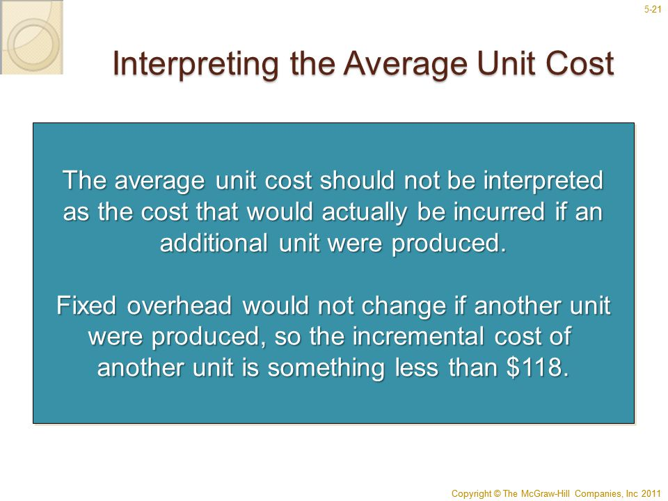 Copyright © The McGraw-Hill Companies, Inc 2011 5-21 Copyright © The McGraw-Hill Companies, Inc 2011 21 Interpreting the Average Unit Cost The average