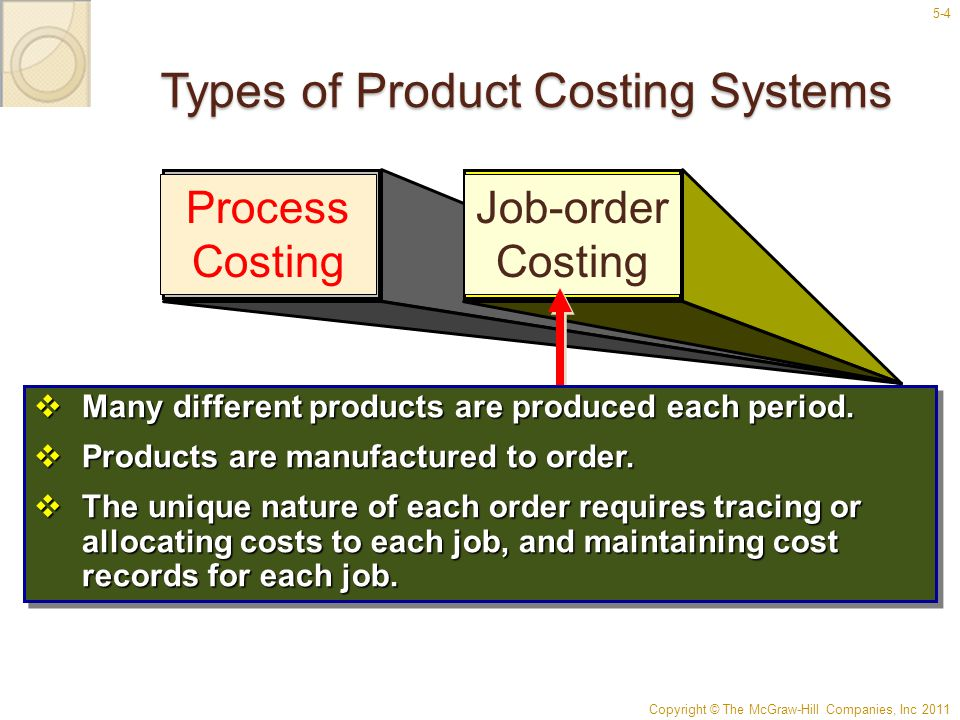 Copyright © The McGraw-Hill Companies, Inc 2011 5-4 Types of Product Costing Systems Process Costing Job-order Costing  Many different products are p