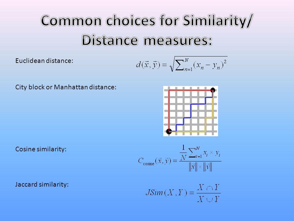 Euclidean distance: City block or Manhattan distance: Cosine similarity: Jaccard similarity: