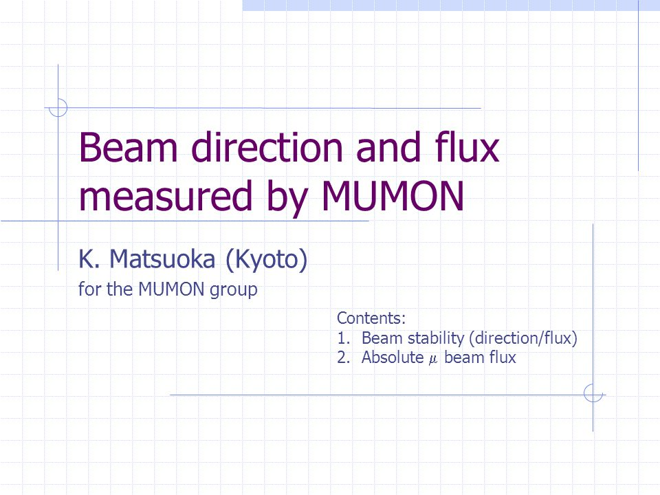 Beam scan on the target - Center position- MUMON alignment.