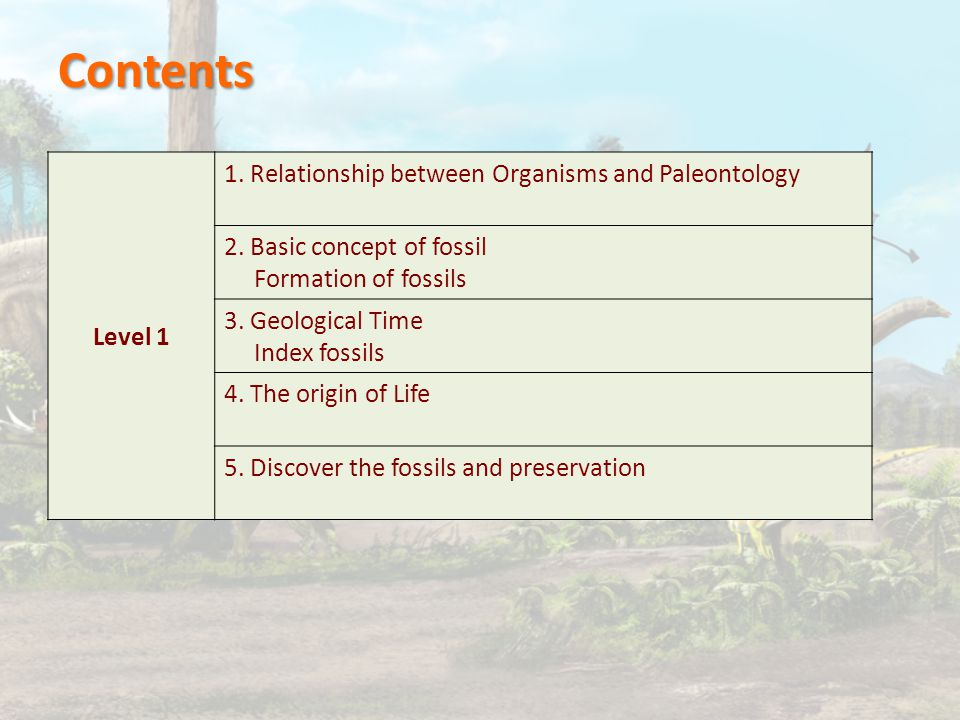 Level 1 1. Relationship between Organisms and Paleontology 2.