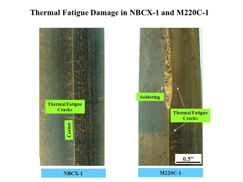 Thermal Fatigue Damage in NBCX-1 and M220C-1 NBCX-1 M220C-1 Soldering Thermal Fatigue Cracks Corner 0.5""