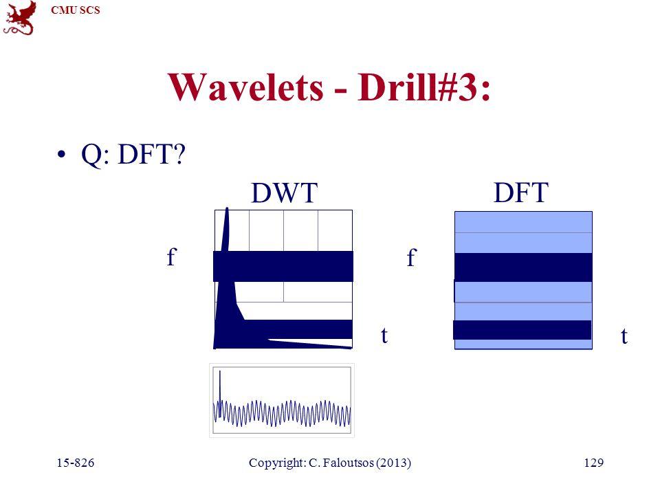 CMU SCS 15-826Copyright: C. Faloutsos (2013)129 Wavelets - Drill#3: Q: DFT t f t f DWT DFT