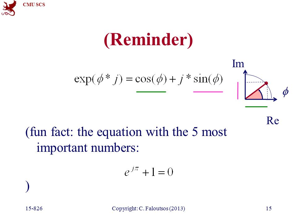 CMU SCS (Reminder) (fun fact: the equation with the 5 most important numbers: ) 15-826Copyright: C.