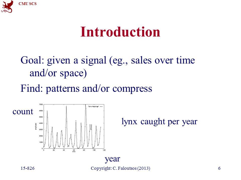 CMU SCS 15-826Copyright: C.Faloutsos (2013)37 DFT: Amplitude spectrum year count Freq.