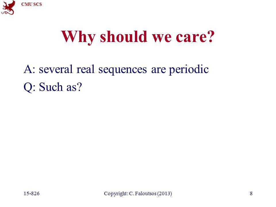 CMU SCS 15-826Copyright: C.Faloutsos (2013)79 Observations Q: DFT of a sinusoid, eg.