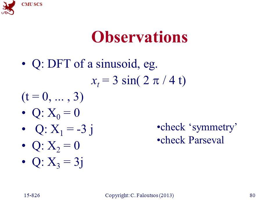CMU SCS 15-826Copyright: C. Faloutsos (2013)80 Observations Q: DFT of a sinusoid, eg.