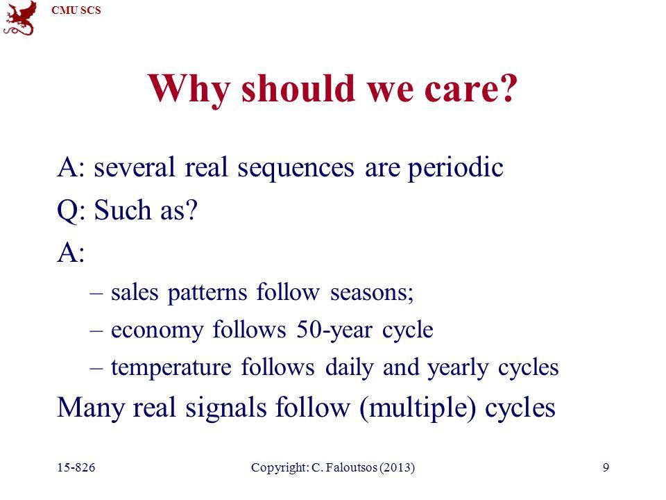 CMU SCS 15-826Copyright: C.Faloutsos (2013)80 Observations Q: DFT of a sinusoid, eg.