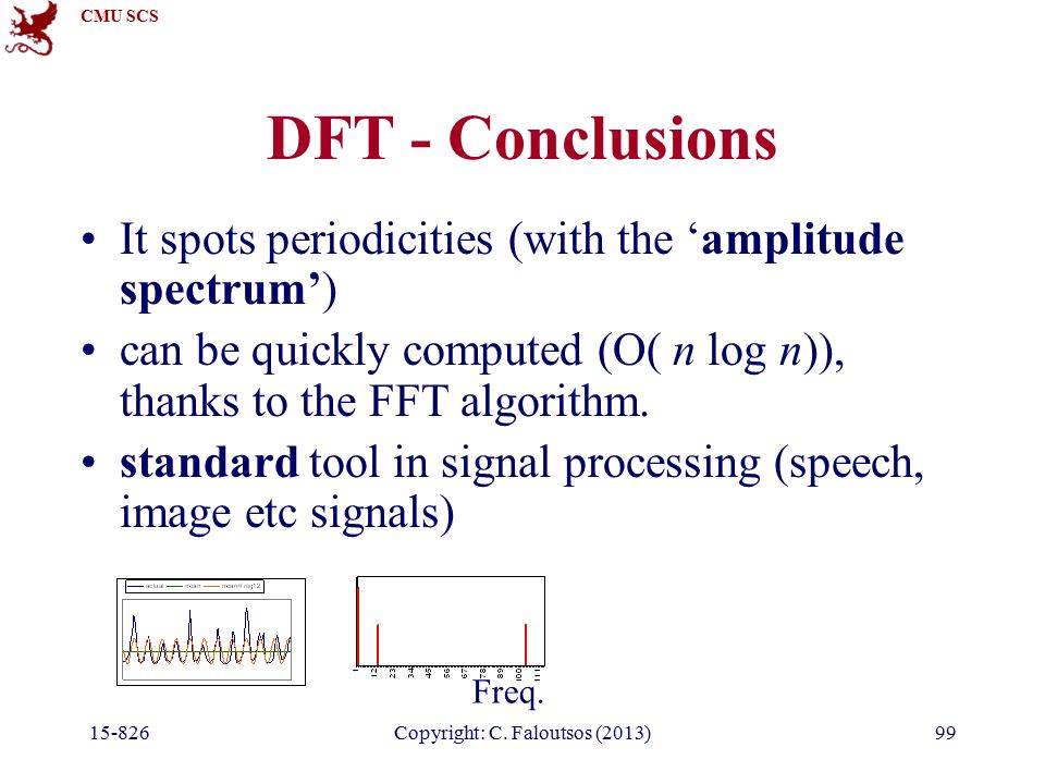 CMU SCS 15-826Copyright: C. Faloutsos (2013)99 DFT - Conclusions It spots periodicities (with the 'amplitude spectrum') can be quickly computed (O( n