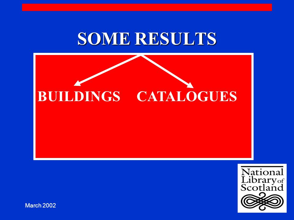 March 2002 SOME RESULTS BUILDINGS CATALOGUES