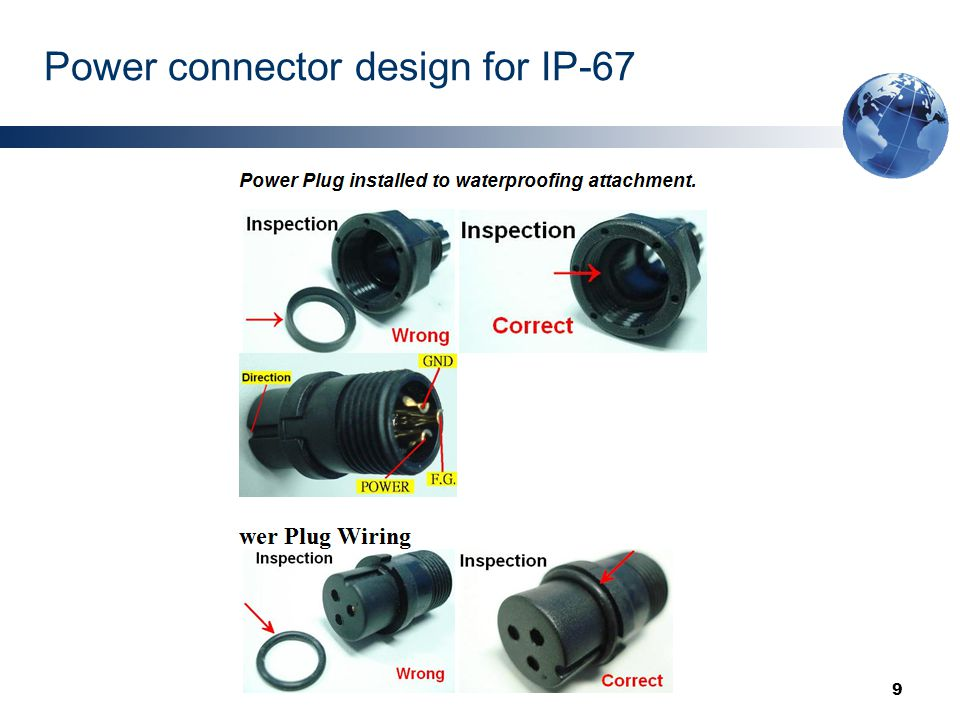 9 Power connector design for IP-67