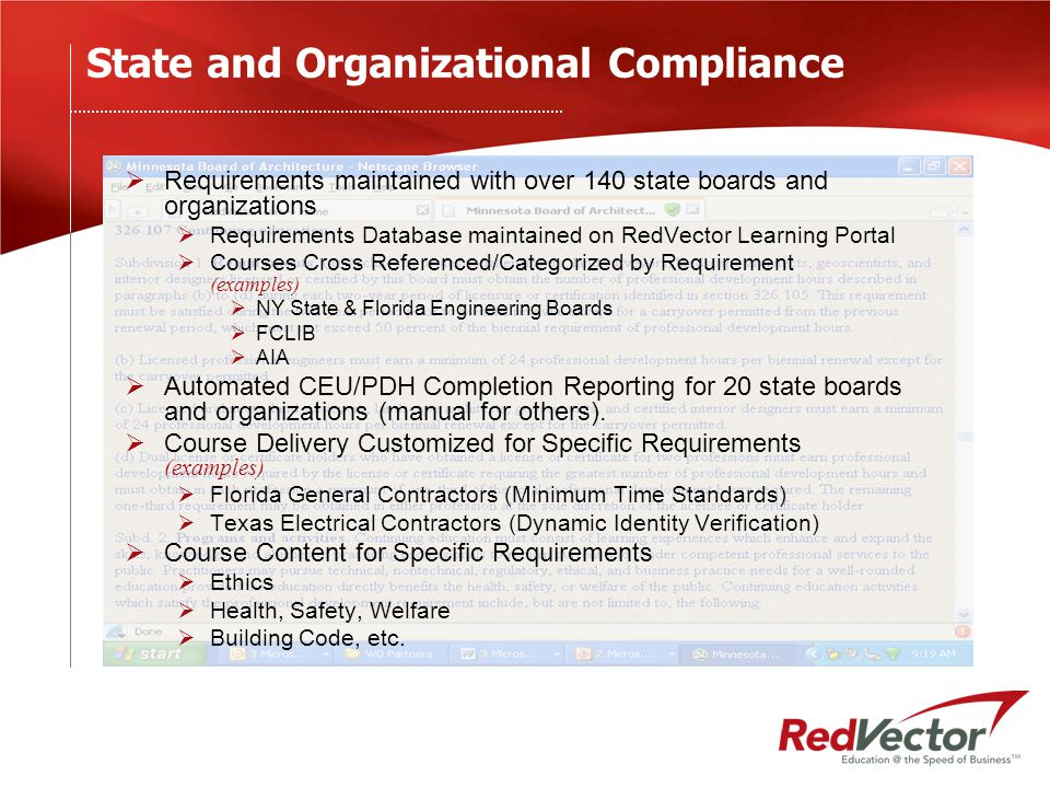 State and Organizational Compliance  Requirements maintained with over 140 state boards and organizations  Requirements Database maintained on RedVector Learning Portal  Courses Cross Referenced/Categorized by Requirement (examples)  NY State & Florida Engineering Boards  FCLIB  AIA  Automated CEU/PDH Completion Reporting for 20 state boards and organizations (manual for others).