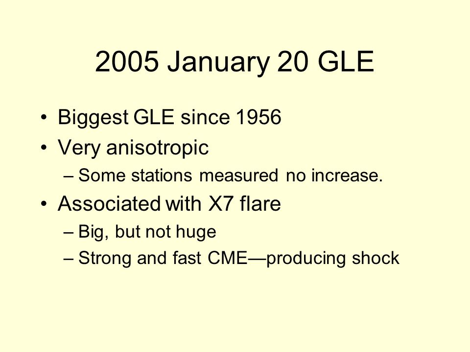2005 January 20 GLE Biggest GLE since 1956 Very anisotropic –Some stations measured no increase.