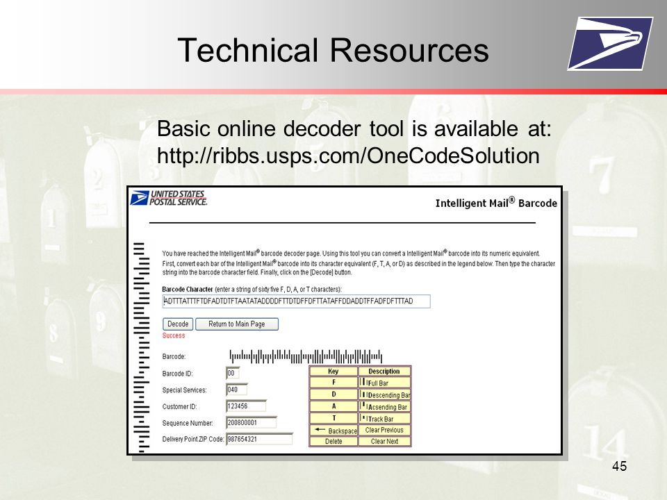 45 Technical Resources Basic online decoder tool is available at: