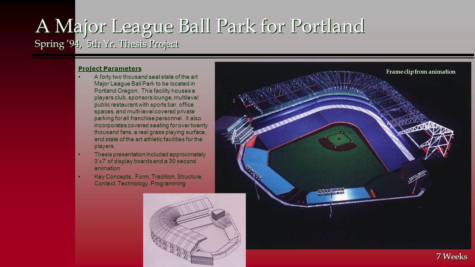 A Major League Ball Park for Portland Spring '94, 5th Yr.