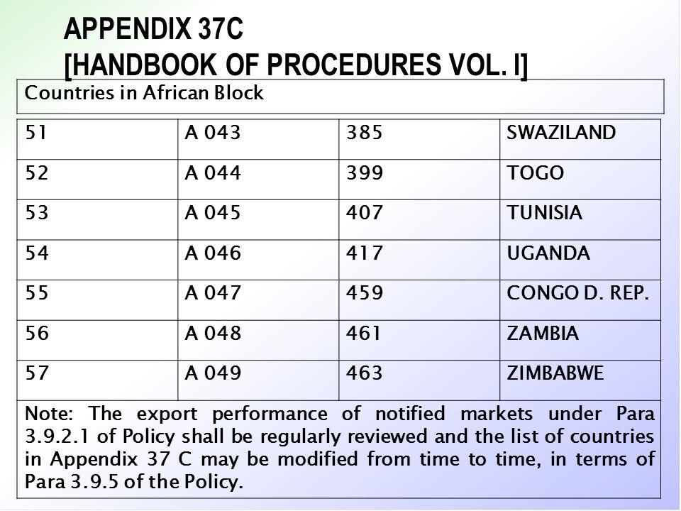 APPENDIX 37C [HANDBOOK OF PROCEDURES VOL. I] Countries in African Block 51A 043385SWAZILAND 52A 044399TOGO 53A 045407TUNISIA 54A 046417UGANDA 55A 0474