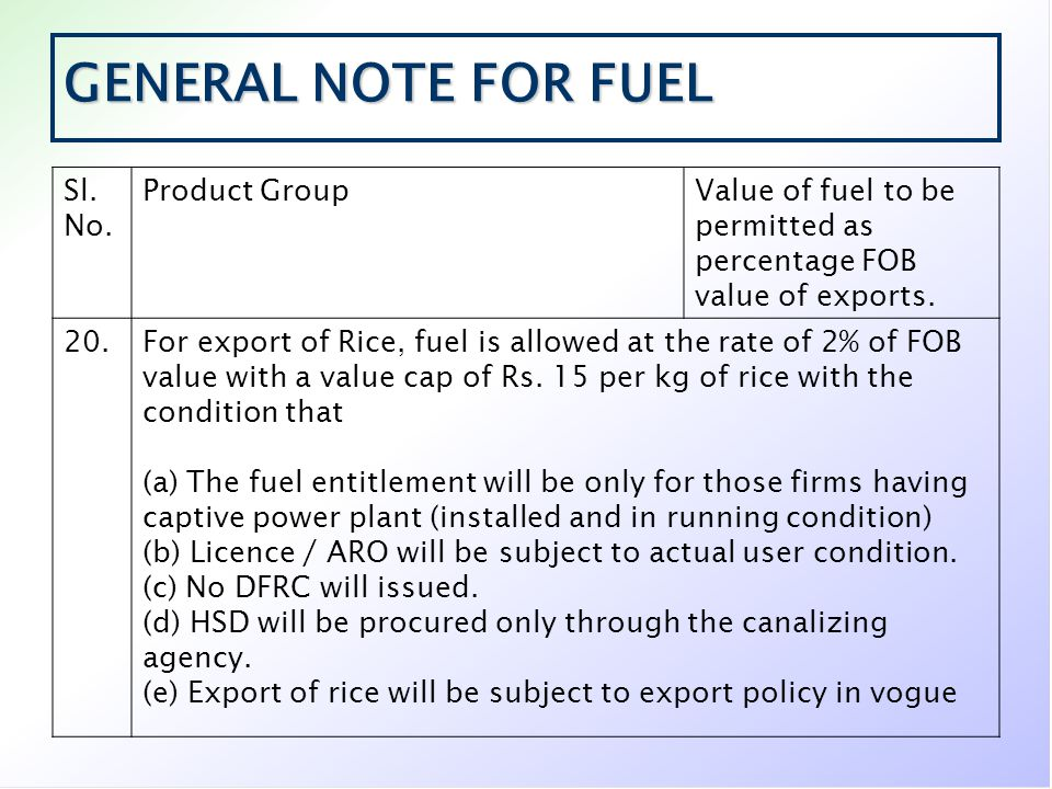 GENERAL NOTE FOR FUEL Sl. No. Product GroupValue of fuel to be permitted as percentage FOB value of exports. 20.For export of Rice, fuel is allowed at