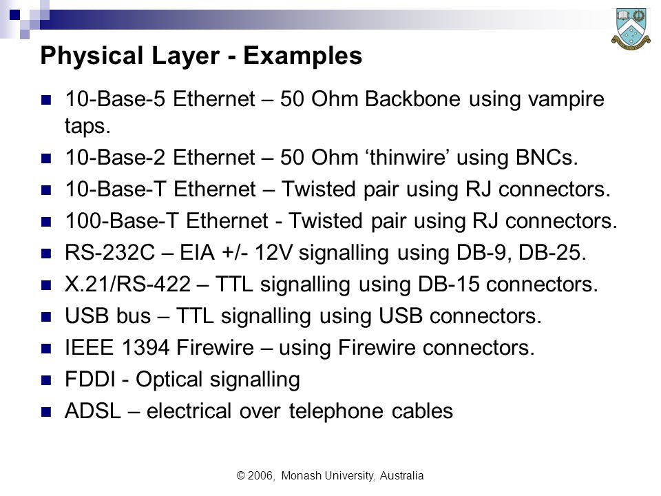 © 2006, Monash University, Australia Physical Layer - Examples 10-Base-5 Ethernet – 50 Ohm Backbone using vampire taps.