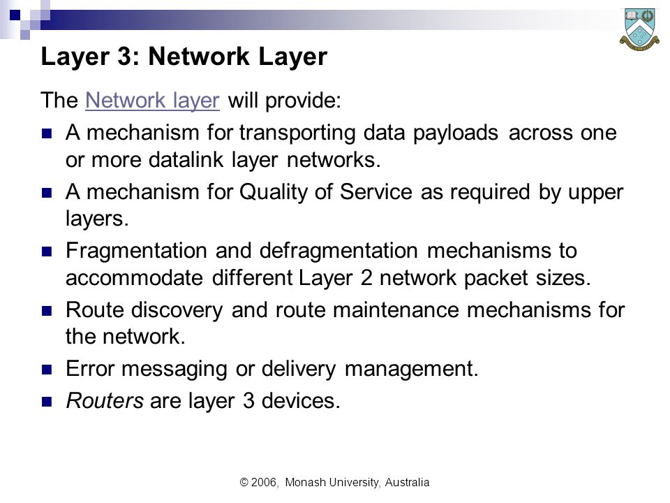 © 2006, Monash University, Australia Layer 3: Network Layer The Network layer will provide:Network layer A mechanism for transporting data payloads across one or more datalink layer networks.