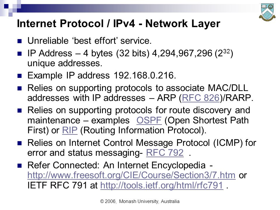 © 2006, Monash University, Australia Internet Protocol / IPv4 - Network Layer Unreliable 'best effort' service.