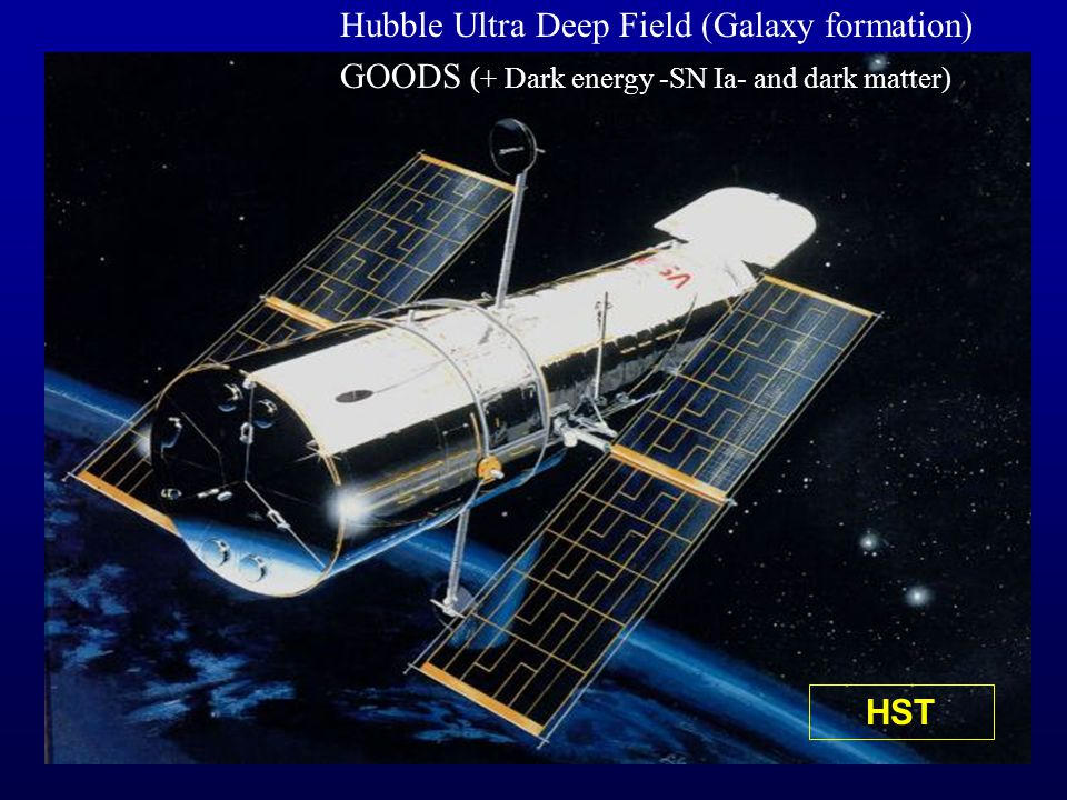 HST Hubble Ultra Deep Field (Galaxy formation) GOODS (+ Dark energy -SN Ia- and dark matter)