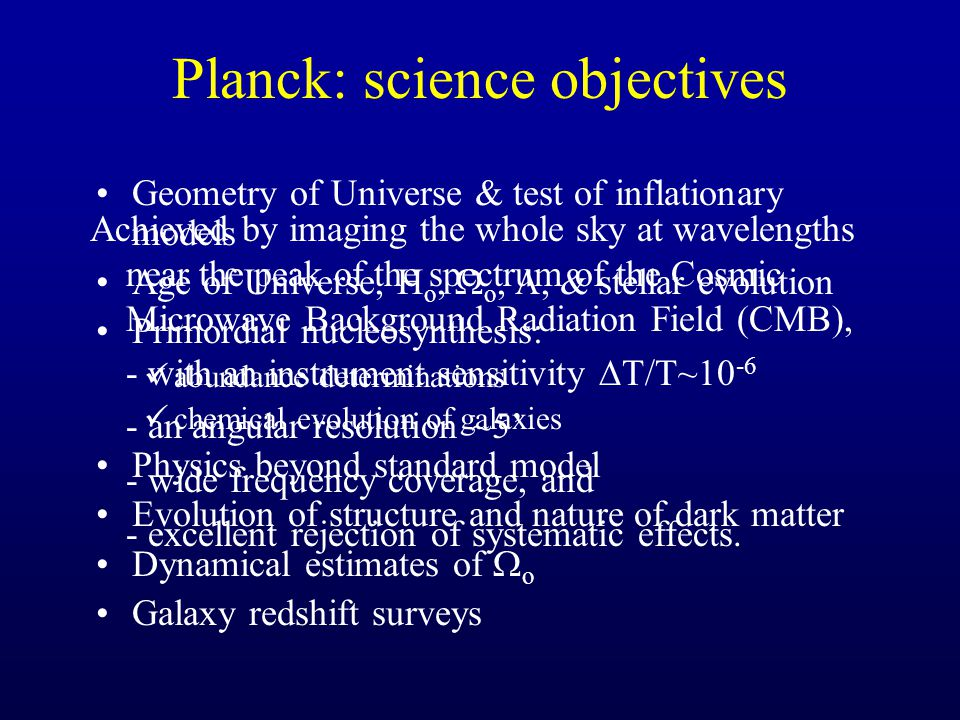 Planck: science objectives Geometry of Universe & test of inflationary models Age of Universe, H o,  o, , & stellar evolution Primordial nucleosynthesis: abundance determinations chemical evolution of galaxies Physics beyond standard model Evolution of structure and nature of dark matter Dynamical estimates of  o Galaxy redshift surveys Achieved by imaging the whole sky at wavelengths near the peak of the spectrum of the Cosmic Microwave Background Radiation Field (CMB), - with an instrument sensitivity  T/T~10 -6 - an angular resolution ~5' - wide frequency coverage, and - excellent rejection of systematic effects.