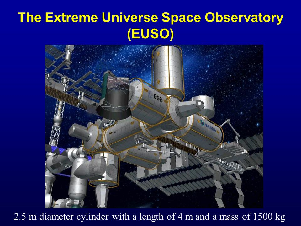 The Extreme Universe Space Observatory (EUSO) 2.5 m diameter cylinder with a length of 4 m and a mass of 1500 kg