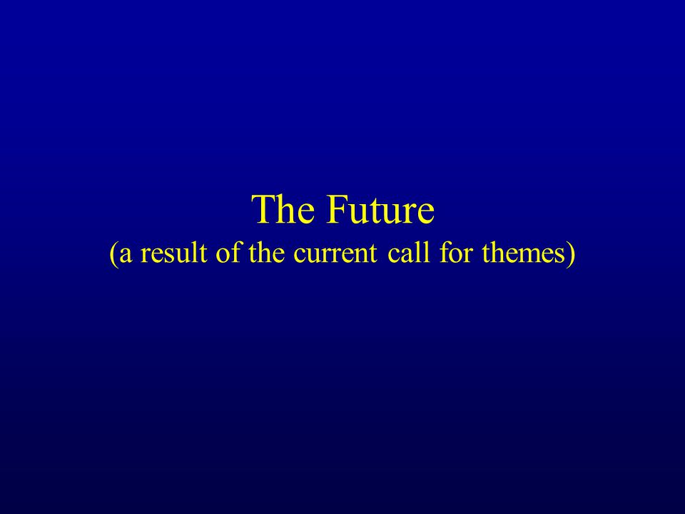 The Future (a result of the current call for themes)