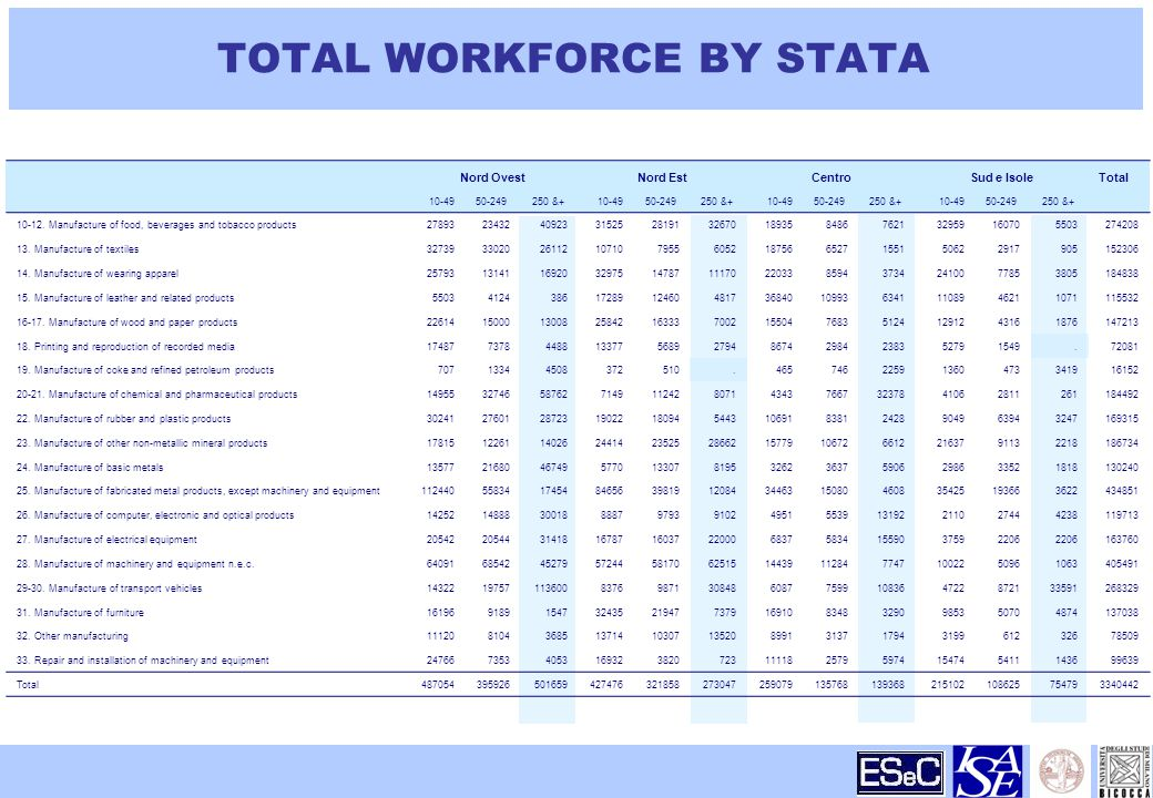 TOTAL WORKFORCE BY STATA Nord OvestNord EstCentroSud e IsoleTotal & & & &