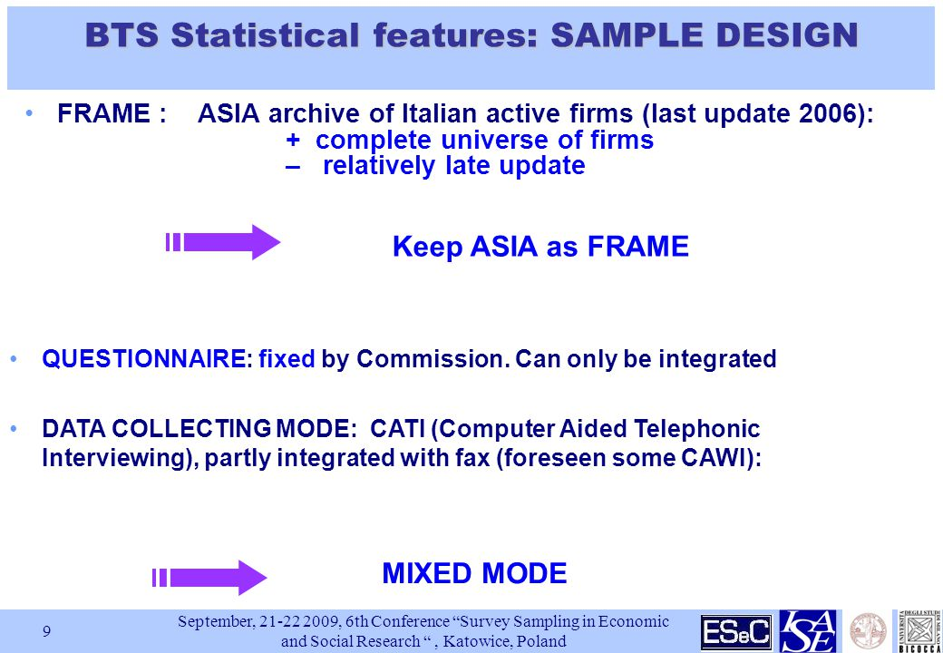September, , 6th Conference Survey Sampling in Economic and Social Research , Katowice, Poland 9 FRAME : ASIA archive of Italian active firms (last update 2006): + complete universe of firms – relatively late update BTS Statistical features: SAMPLE DESIGN QUESTIONNAIRE: fixed by Commission.