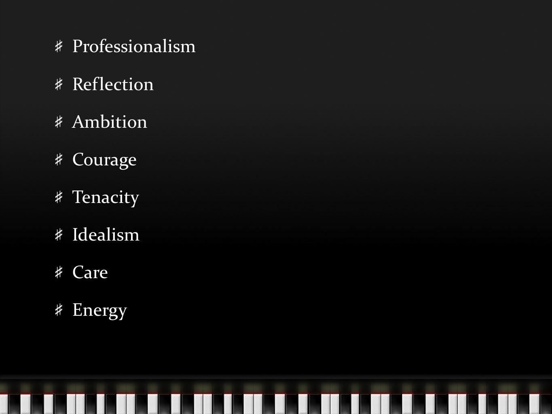 Professionalism Reflection Ambition Courage Tenacity Idealism Care Energy