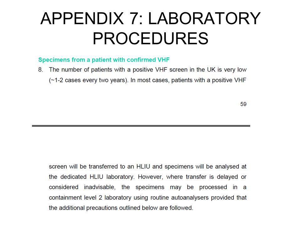 APPENDIX 7: LABORATORY PROCEDURES