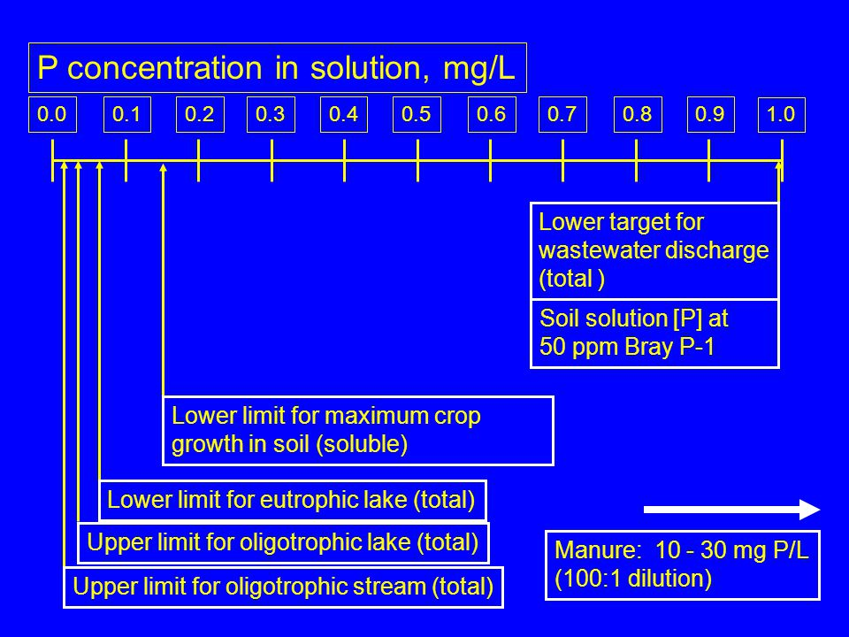 0.10.20.30.40.50.60.70.80.9 1.0 0.0 P concentration in solution, mg/L Upper limit for oligotrophic lake (total) Lower limit for eutrophic lake (total)