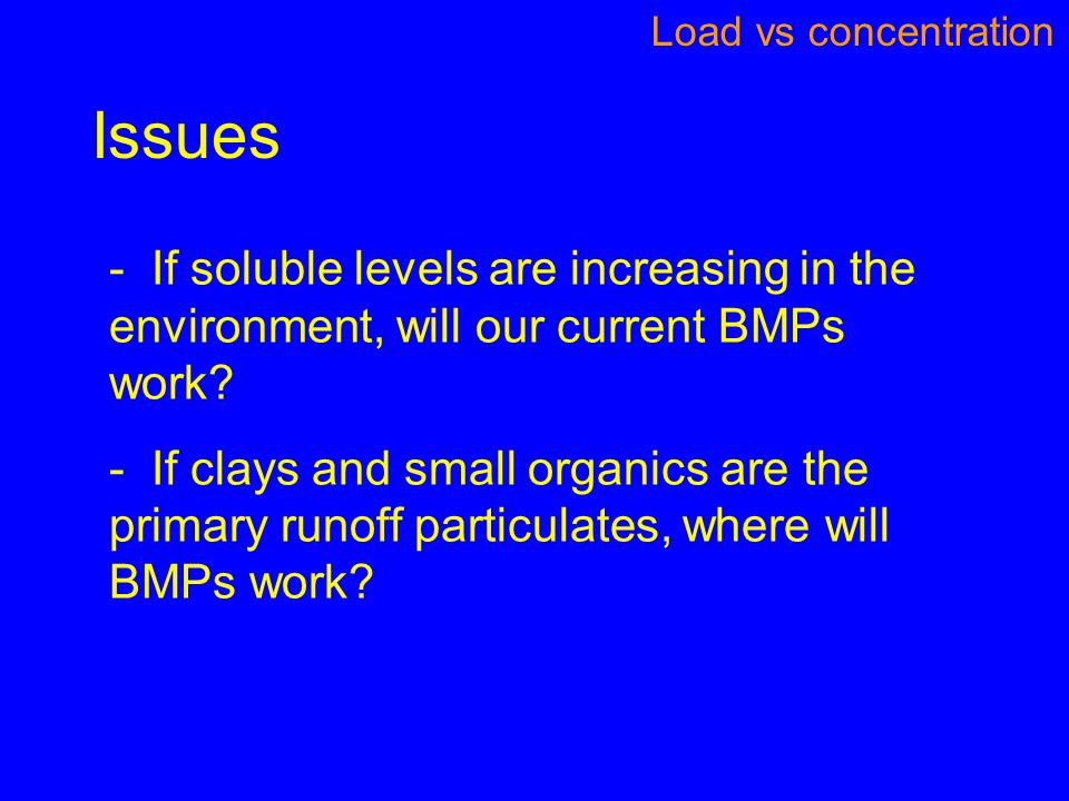 Issues Load vs concentration - If soluble levels are increasing in the environment, will our current BMPs work.
