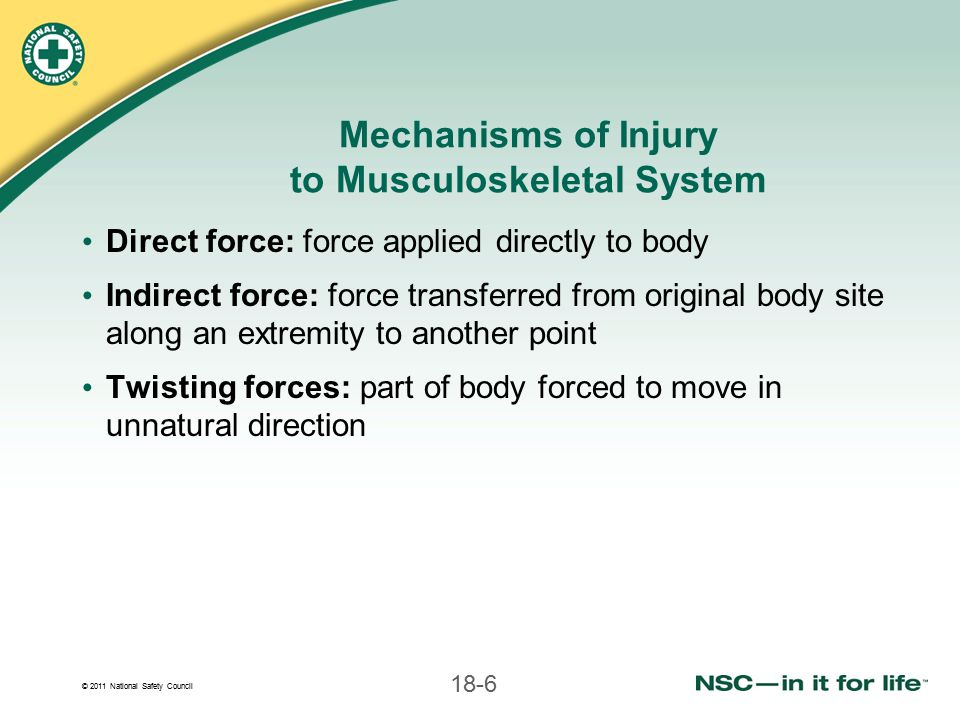 © 2011 National Safety Council 18-67 Splinting Upper Leg Injuries (continued) Check circulation and sensation in foot and toes Put rigid splint on each side of leg -Pad body areas and voids -Inside splint should extend from groin past foot -Outside splint should extend from armpit past foot
