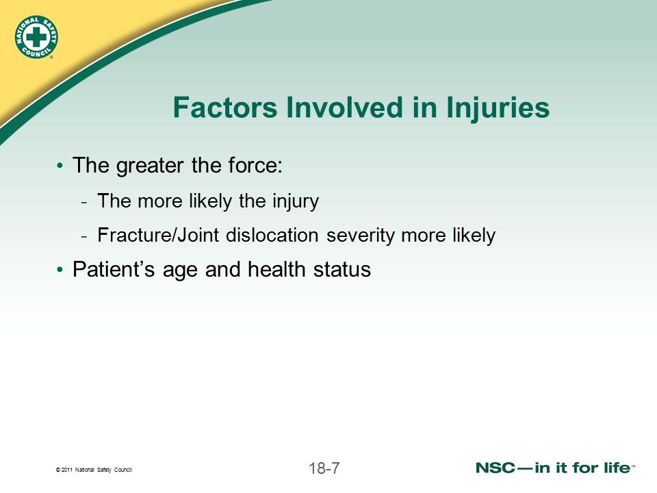 © 2011 National Safety Council 18-68 Anatomic Splinting of Leg Injuries 1.Gently slide 4 or 5 bandages under both legs  but not over injury 2.Put padding between legs 3.Do not move injured leg 4.Gently slide uninjured leg next to injured leg 5.Tie bandages 6.Check circulation again