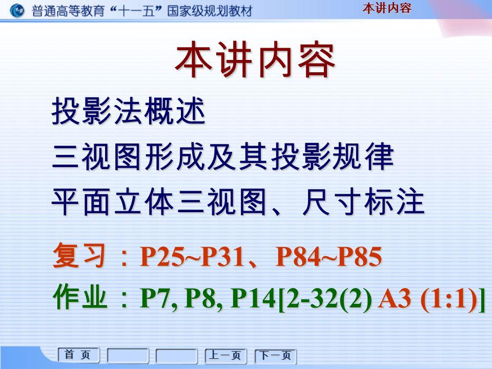 首 页 首 页 上一页 下一页 本讲内容 投影法概述三视图形成及其投影规律平面立体三视图、尺寸标注 本讲内容 复习: P25~P31 、 P84~P85 作业: P7, P8, P14[2-32(2) A3 (1:1)]