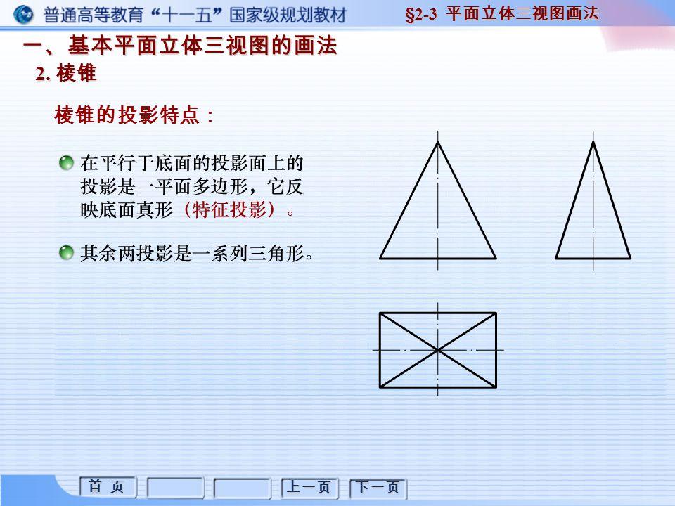 首 页 首 页 上一页 下一页 一、基本平面立体三视图的画法 2. 棱锥 棱锥的投影特点: §2-3 平面立体三视图画法