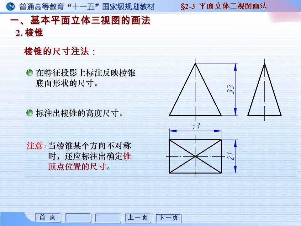 首 页 首 页 上一页 下一页 一、基本平面立体三视图的画法 2. 棱锥 棱锥的尺寸注法: §2-3 平面立体三视图画法