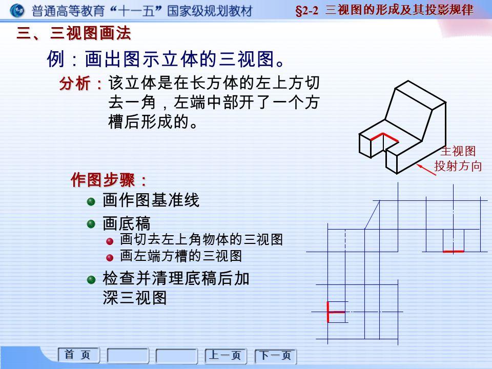 首 页 首 页 上一页 下一页 三、三视图画法 §2-2 三视图的形成及其投影规律 画作图基准线 画底稿 检查并清理底稿后加 深三视图 画切去左上角物体的三视图 画左端方槽的三视图 例:画出图示立体的三视图。 分析: 该立体是在长方体的左上方切 去一角,左端中部开了一个方 槽后形成的。 作图步骤: 主视图 投射方向