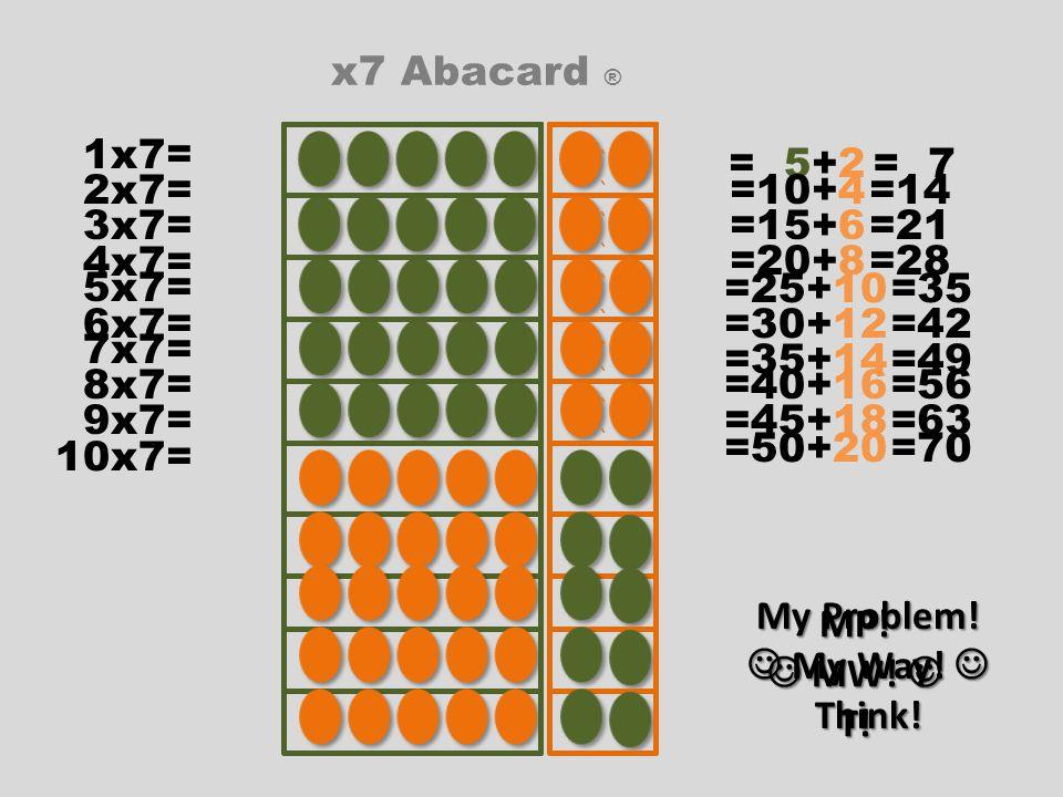 1x7= = 7= 5+2 x7 Abacard ® ` 2x7==14=10+4 ` 3x7==21=15+6 4x7= ` =28=20+8 ` 5x7= ` =35=25+10 6x7= ` =42=30+12 7x7= ` =49=35+14 8x7= ` =56=40+16 9x7= ` =63=45+18 10x7= ` =70=50+20 MP.