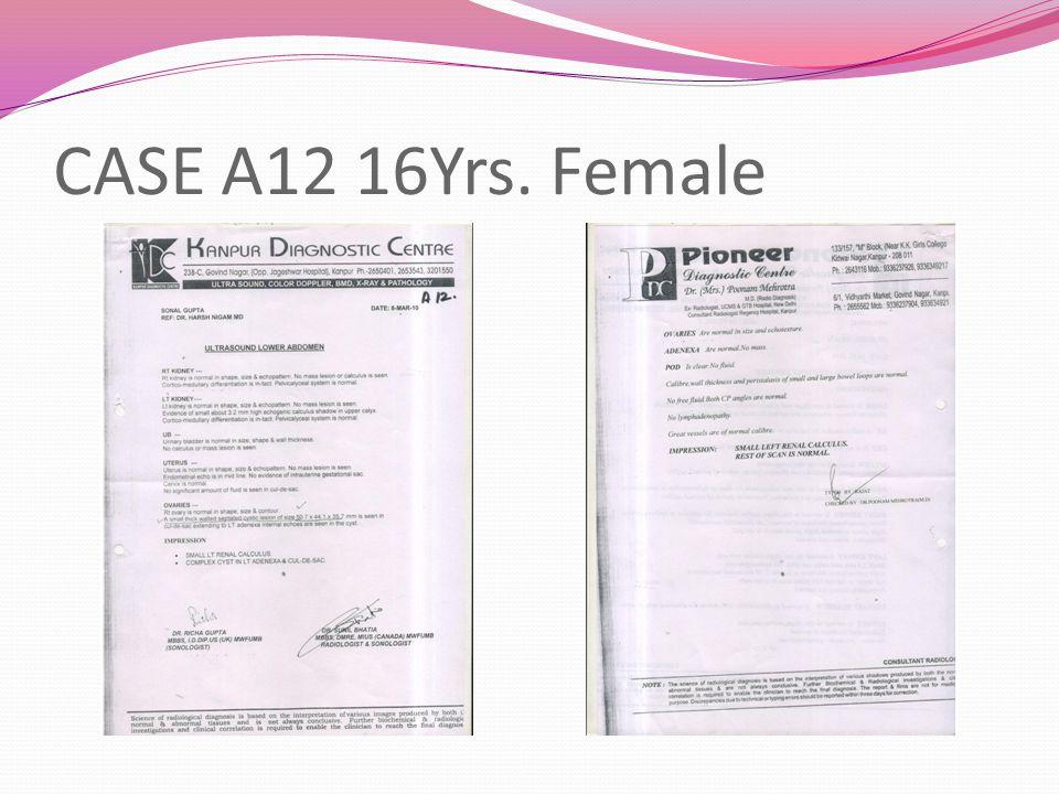 CASE A12 16Yrs. Female