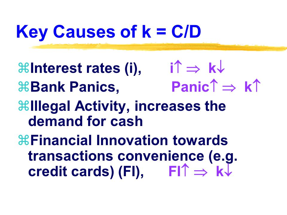 Key Causes of k = C/D zInterest rates (i), i   k  zBank Panics, Panic   k  zIllegal Activity, increases the demand for cash zFinancial Innovation towards transactions convenience (e.g.