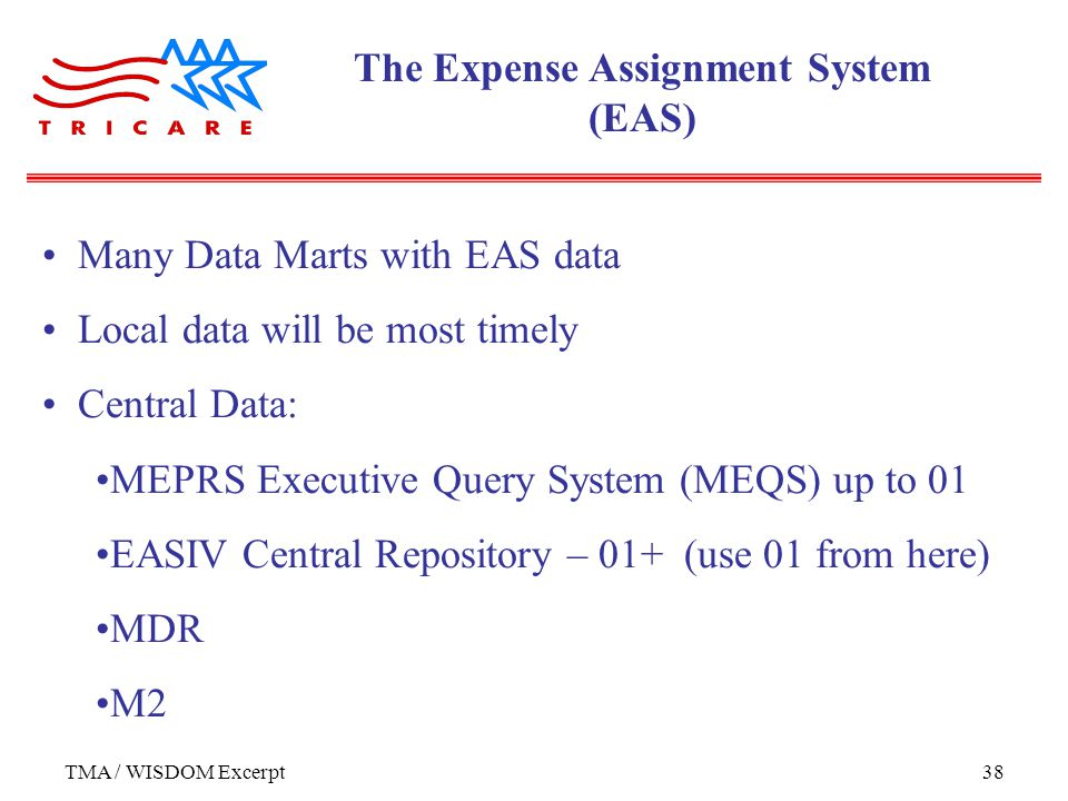 TMA / WISDOM Excerpt38 Many Data Marts with EAS data Local data will be most timely Central Data: MEPRS Executive Query System (MEQS) up to 01 EASIV Central Repository – 01+ (use 01 from here) MDR M2 The Expense Assignment System (EAS)