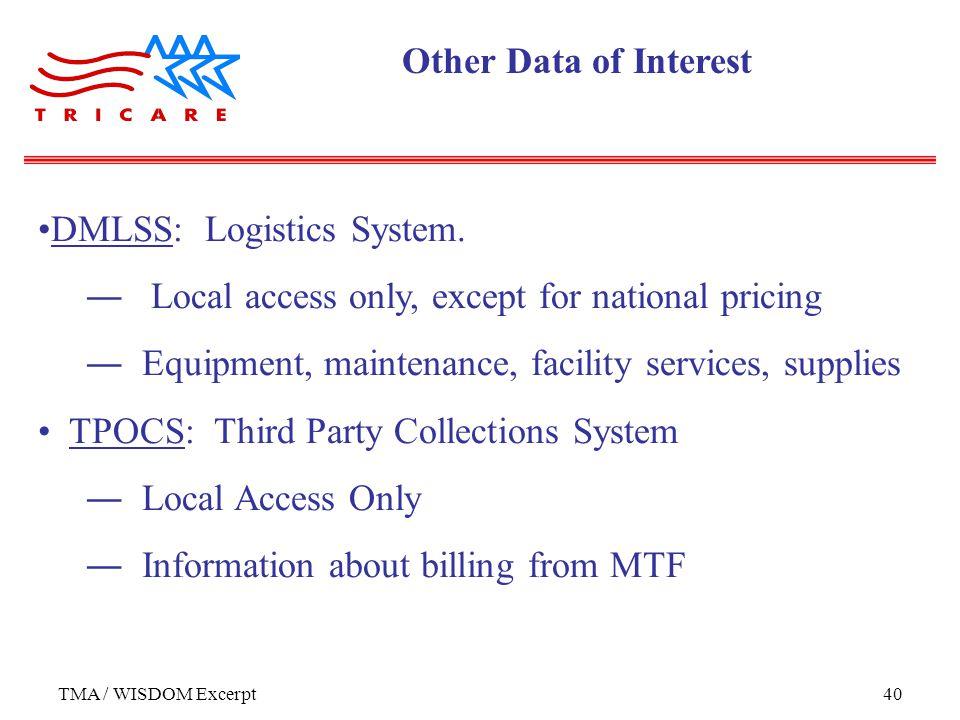 TMA / WISDOM Excerpt40 DMLSS: Logistics System.