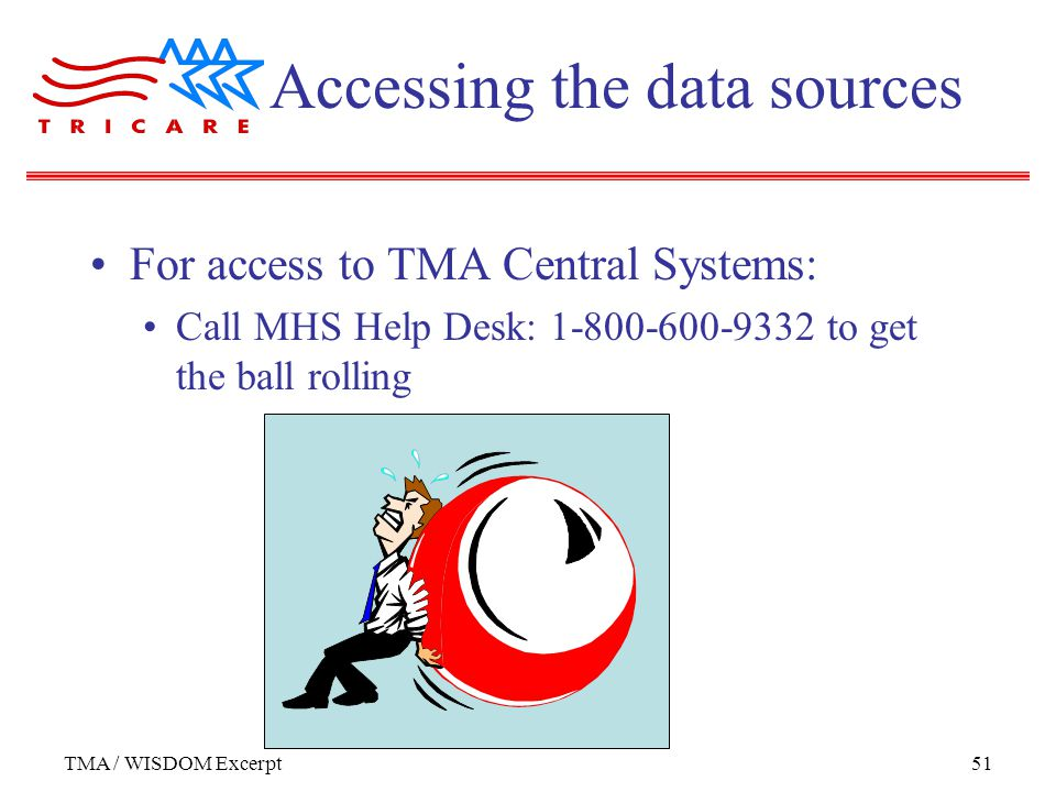 TMA / WISDOM Excerpt51 Accessing the data sources For access to TMA Central Systems: Call MHS Help Desk: to get the ball rolling